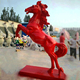 New product red life size horse with jumping statue