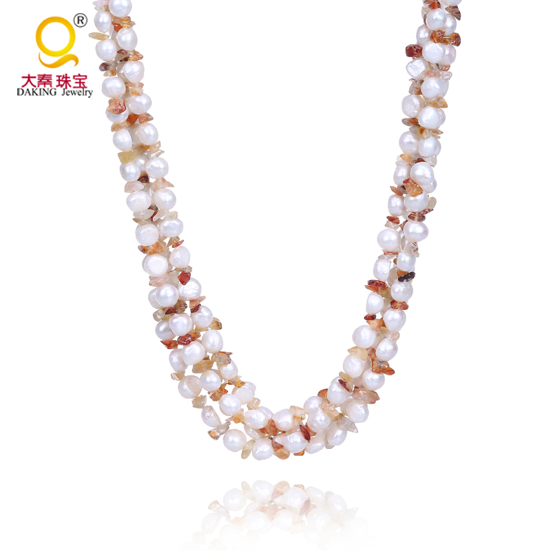 Fashion multi rows necklace with shell clasp irregular shape pearl and stone necklace