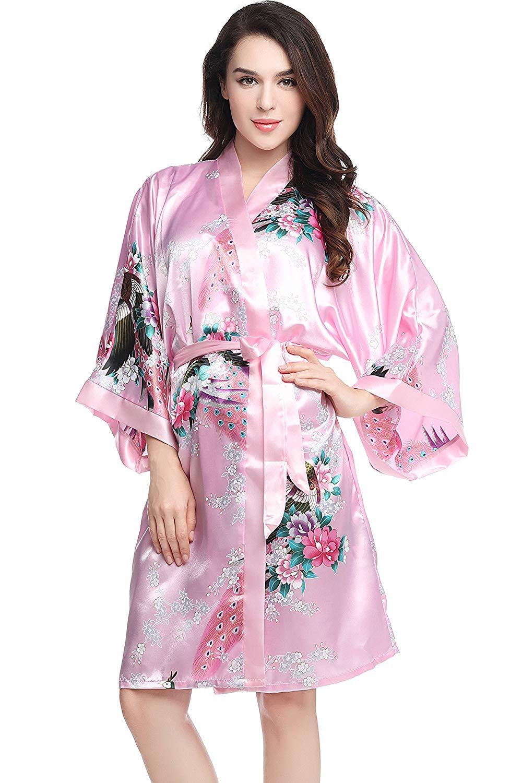 226b00eca1 Get Quotations · BABEYOND Kimono Robe Short Bachelorette Party Robes 1920s Kimono  Nightgown 37