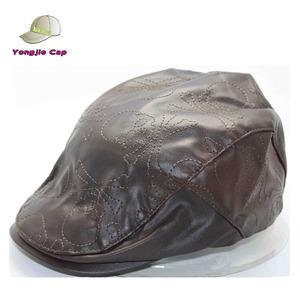 Vintage Leather Embossed Engineer Captains Cabbie Hat Cap