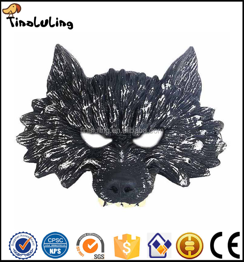 Good quality small moq rubber animal wolf head simulation face halloween mask