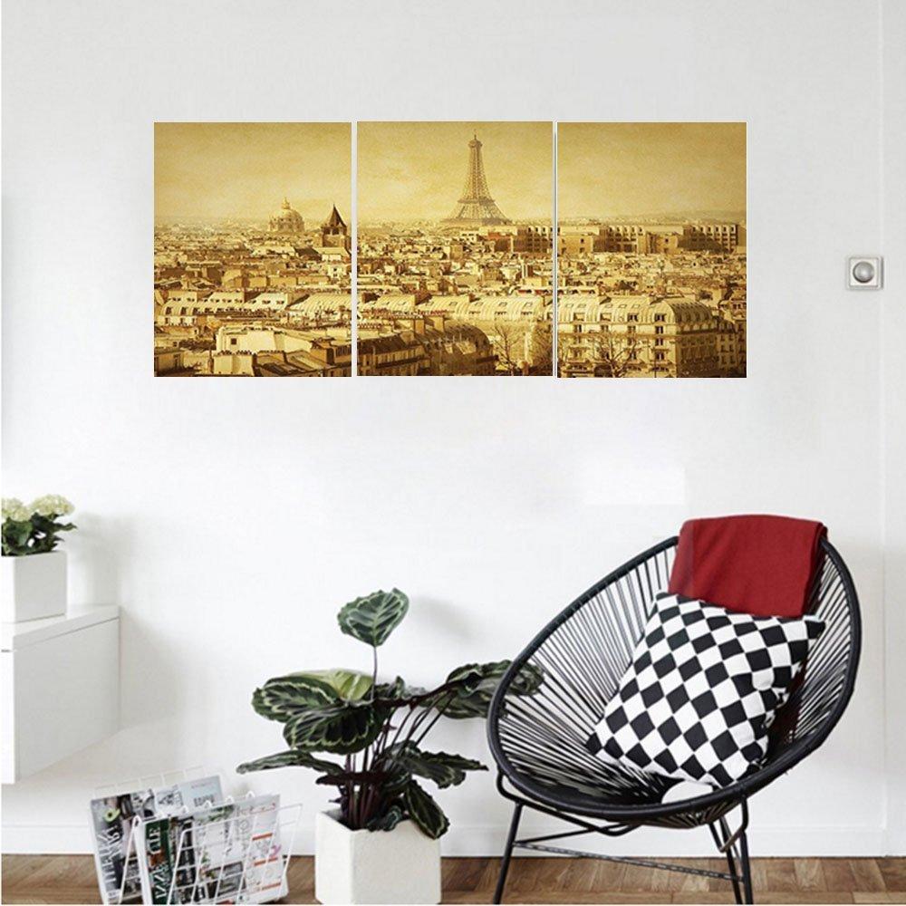 Liguo88 Custom canvas Eiffel Tower Decor Collection Classic Photo of Eiffel Tower Paris National Landmark Old Album Memories Vintage Print Bedroom Living Room Wall Hanging Brown