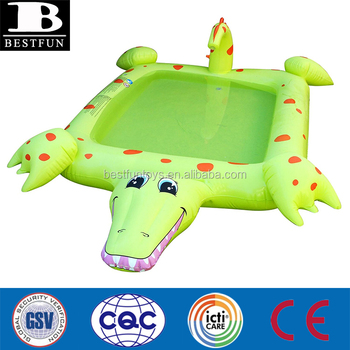 Heavy Duty Vinyl Inflatable Alligator Pool With Water Sprayer Durable  Plastic Cute Blow Up Alligator Pool