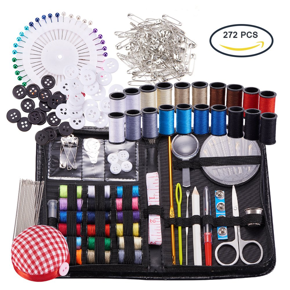 BENECREAT Sewing & Knitting Tools Kits, 272pcs Sewing Supplies with Buttons & Pins & Scissors & Pencil & Sewing Threads & Knitting Neddles & Crochet Hooks & Cloth Needle Cushion