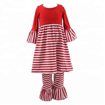 bbcf4eb42ad909 Wholesale newborn baby girls boutique clothes cotton ruffle pants sets  toddler stripe fancy Christmas outfits