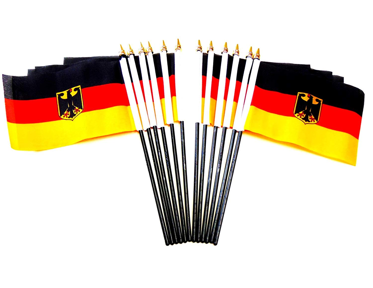 "German Germany w// WWI Imperial Flag 4/""x6/"" Desk Set Table Stick Gold Base"