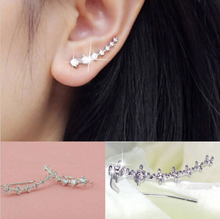 1 Pair Silver Gold Plated Stars Element Crystal Pearl Earrings Ear Hook For Women Girl Stud Earrings Jewelry Er794