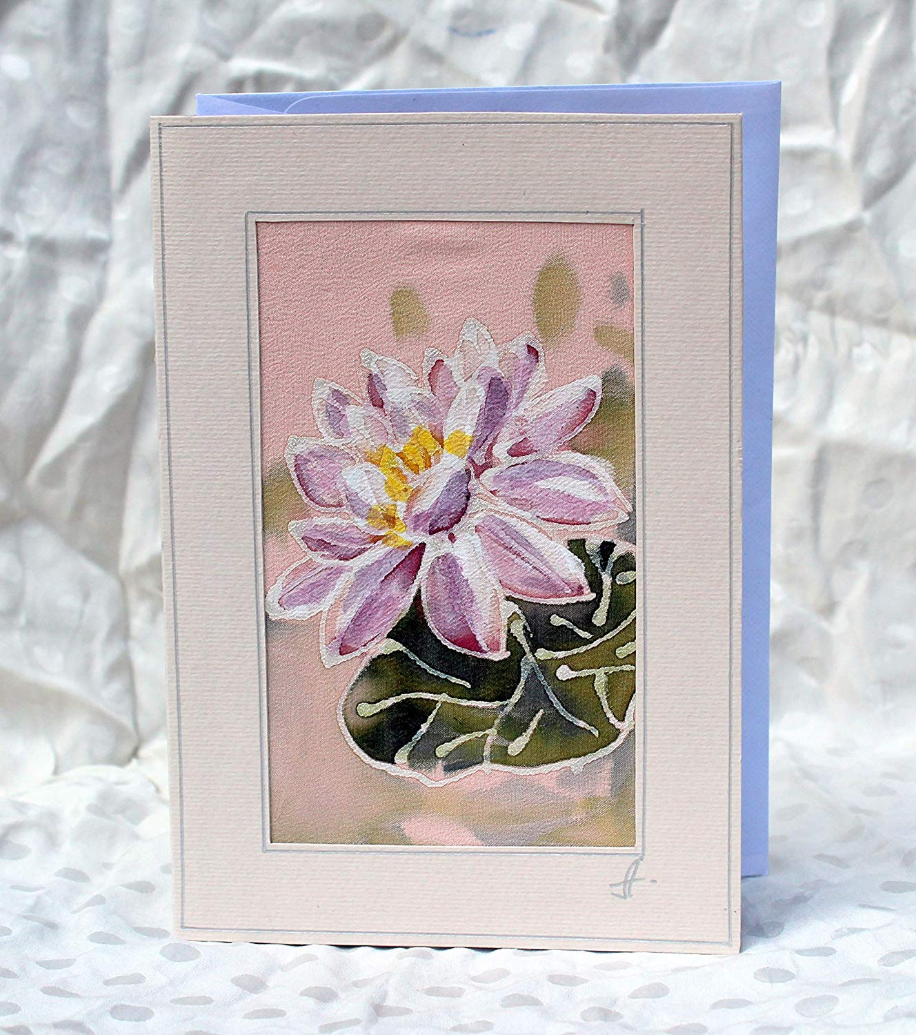 White Water Lily Silk Card,Hand Painted Silk Card,Water Lily Card,Flower Card,Beautiful Mother's Day Card, Pretty Mothers Day Card, Mothers Day Gift.