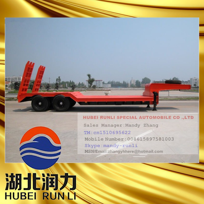 China Supplier 2 Axles Lowboy Semi Truck Trailers/low Bed Semi ...