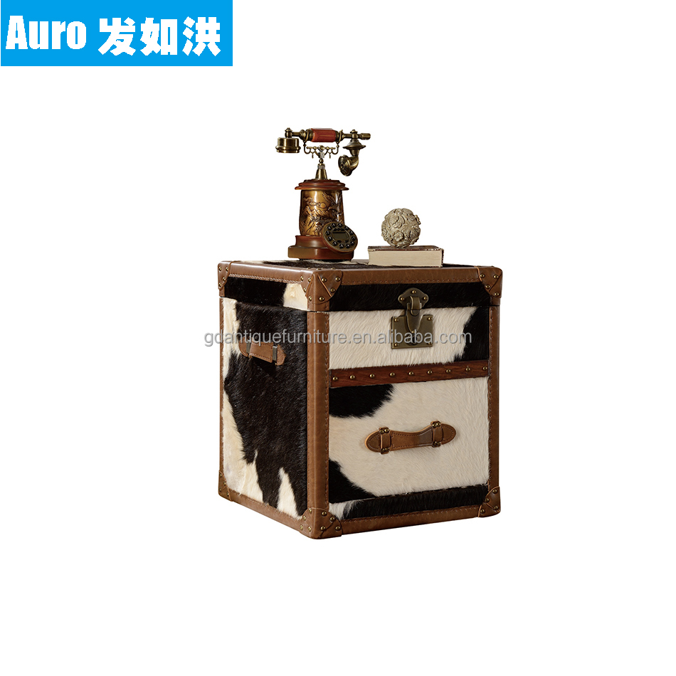 Retro wooden trunk wholesale furniture china leather cabinet