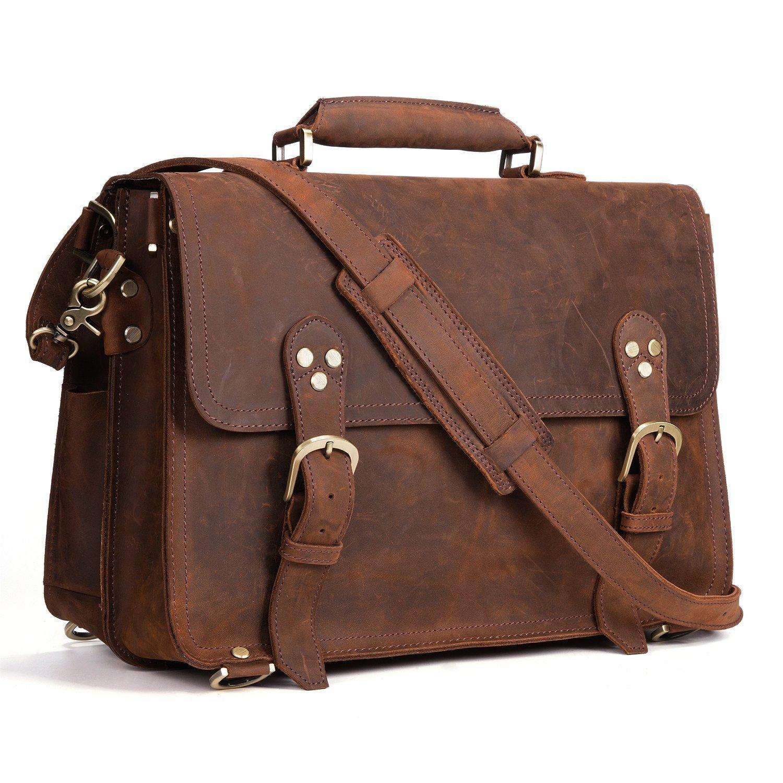 """Kattee XZ170-FBA 3-Way Men's Crazy Horse Leather Vintage Briefcase Travel Backpack 15"""" Laptop Shoulder Bag Handbag"""