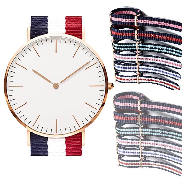 Interchange Strap Nylon Strap Quartz Stainless Steel Alloy Lady Watch With Factory Price