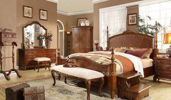 Oak Wood Wedding Bedroom Furniture King Bed Sets