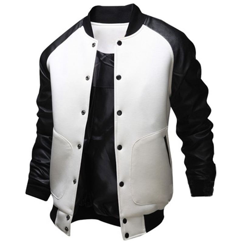 Varsity Jacket Men Black Pu Leather Baseball Jacket Autumn Winter Fashion Single Button Mens Slim Fit Windbreaker Cotton Jacket