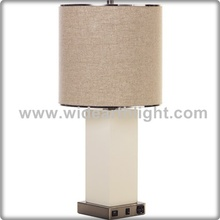 UL CUL Listed White Glass Body Bedside Hotel Light With USB Port And Outlet At Base T50101