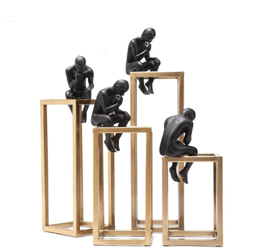 โรงงานที่กำหนดเองบทคัดย่อเรซิน Thinker Figurine สำหรับตกแต่งบ้าน