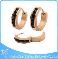 Black diamond rose gold earrings brand stainless steel jewelry
