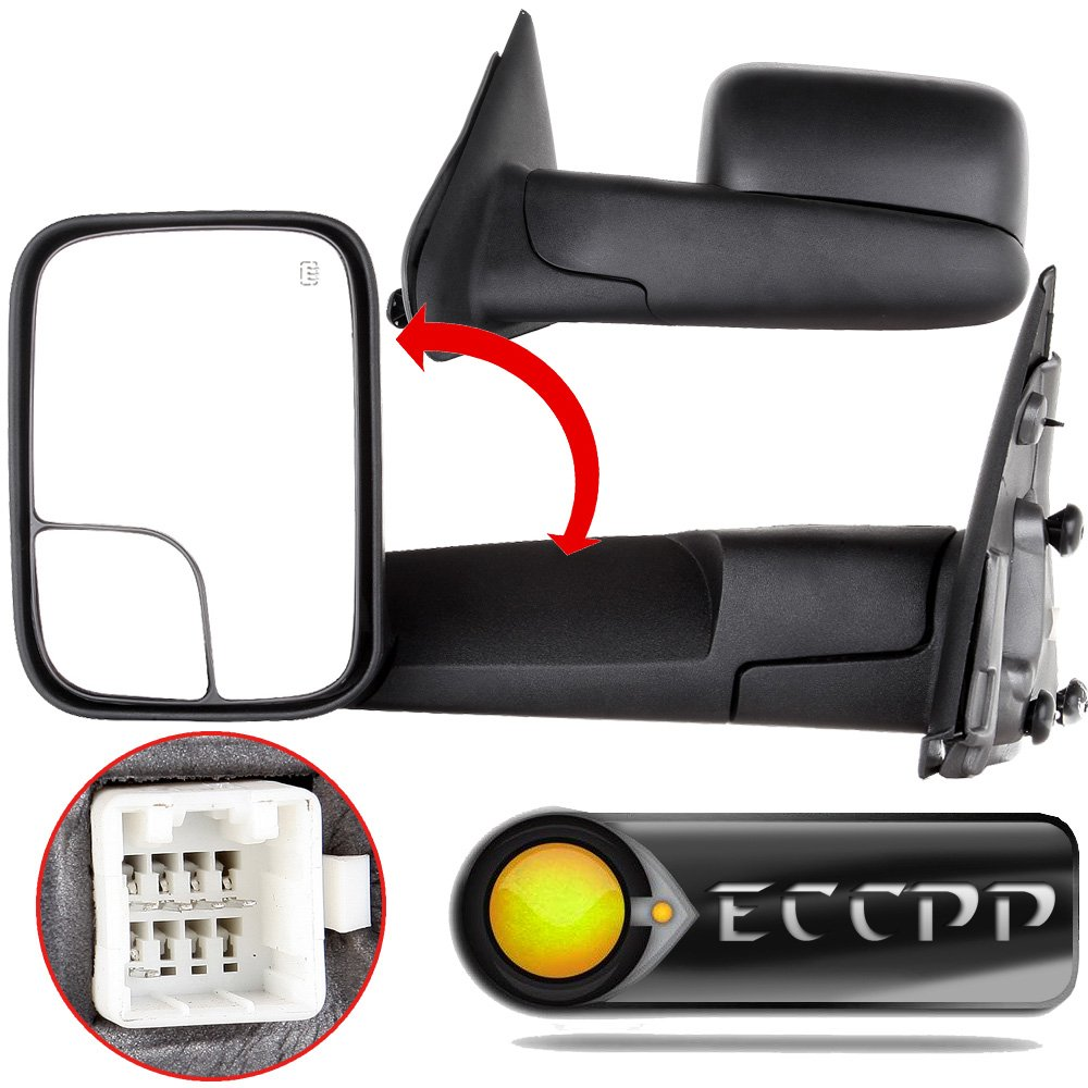 ECCPP Towing Mirrors for 2003-2008 Dodge Ram 1500 2500 3500 Truck Power Heated Black Manual Side View Mirrors