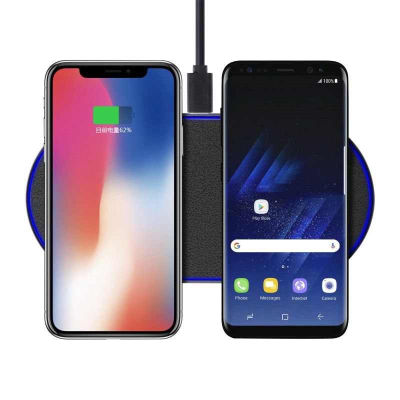 Custom logo 10 W Dual 2 mobile smart phone position wireless charger ,Qi Standard Wireless Quick Charger for iphone X,8, White / black/ customized