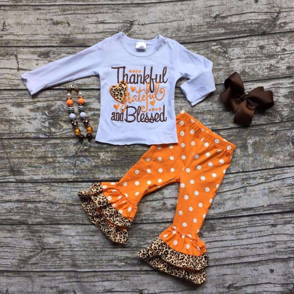 baby girls Fall/Winter thanksgiving cotton clothes thankful & blessed outfits children top with polka dot pant with accessories