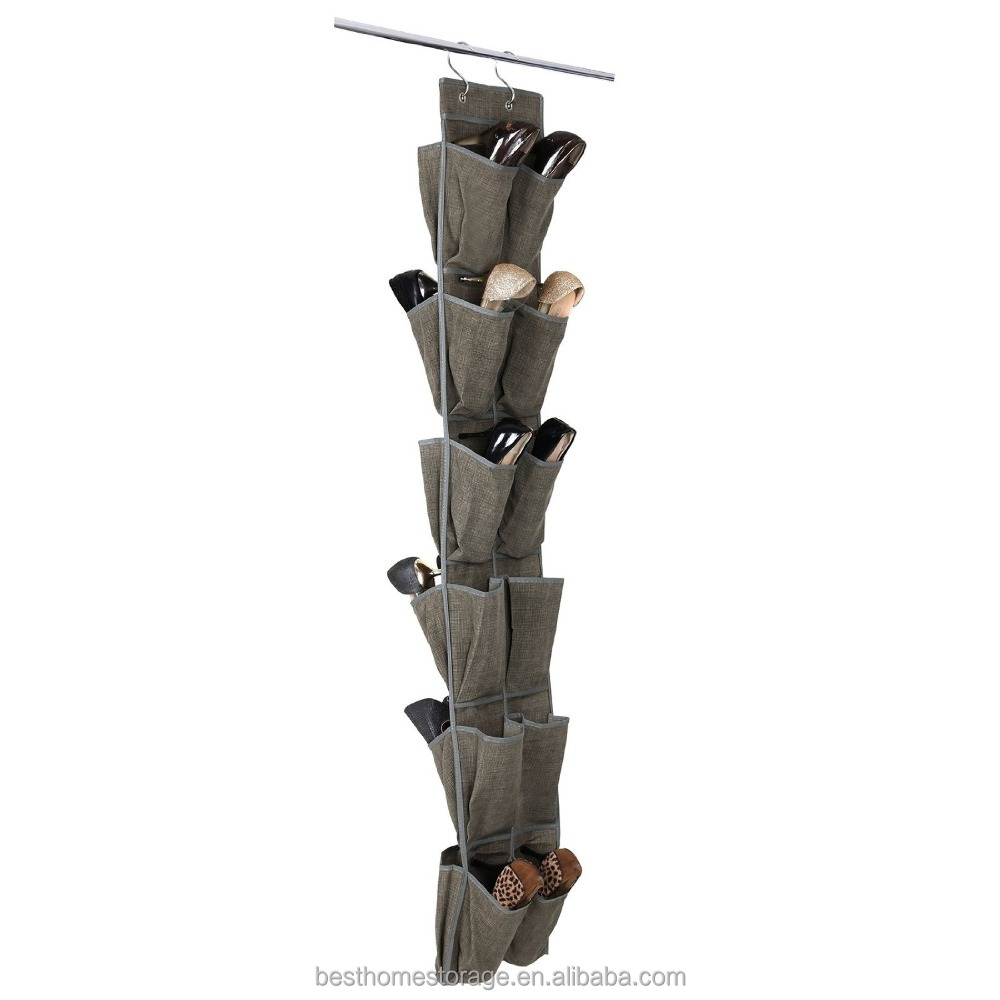 24 Pockets Over-The-Door Shoe Organizer Multi-purpose Hanging Shoe Storage Unit Light Brown