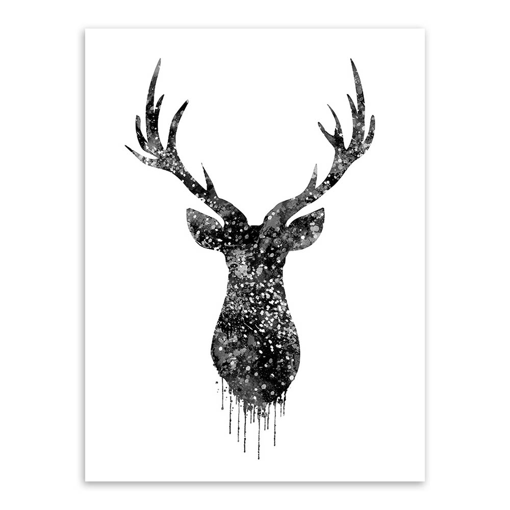 Triptych Watercolor Deer Head A4 Poster Print Abstract