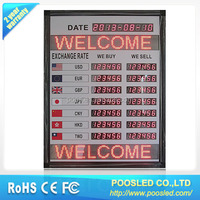 led bank exchange signage \ led digital panel board for exchange rate \ led display board for money exchange rates