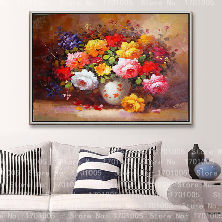 Free shipping modern oil painting for home deco wall hanging art oil flower picture living room Decorative on canvas prints L77
