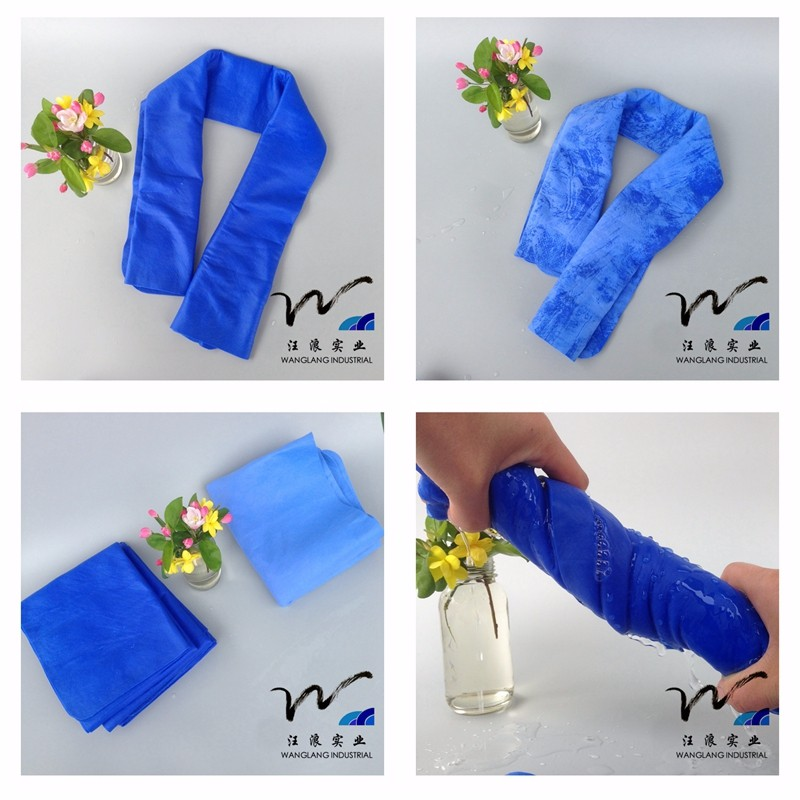 print PVA synthetic chamois cloth,shammy towel ,car wipeing cleaning magic chamois cloth 16x12in blue thickness size 43x32x0.2cm