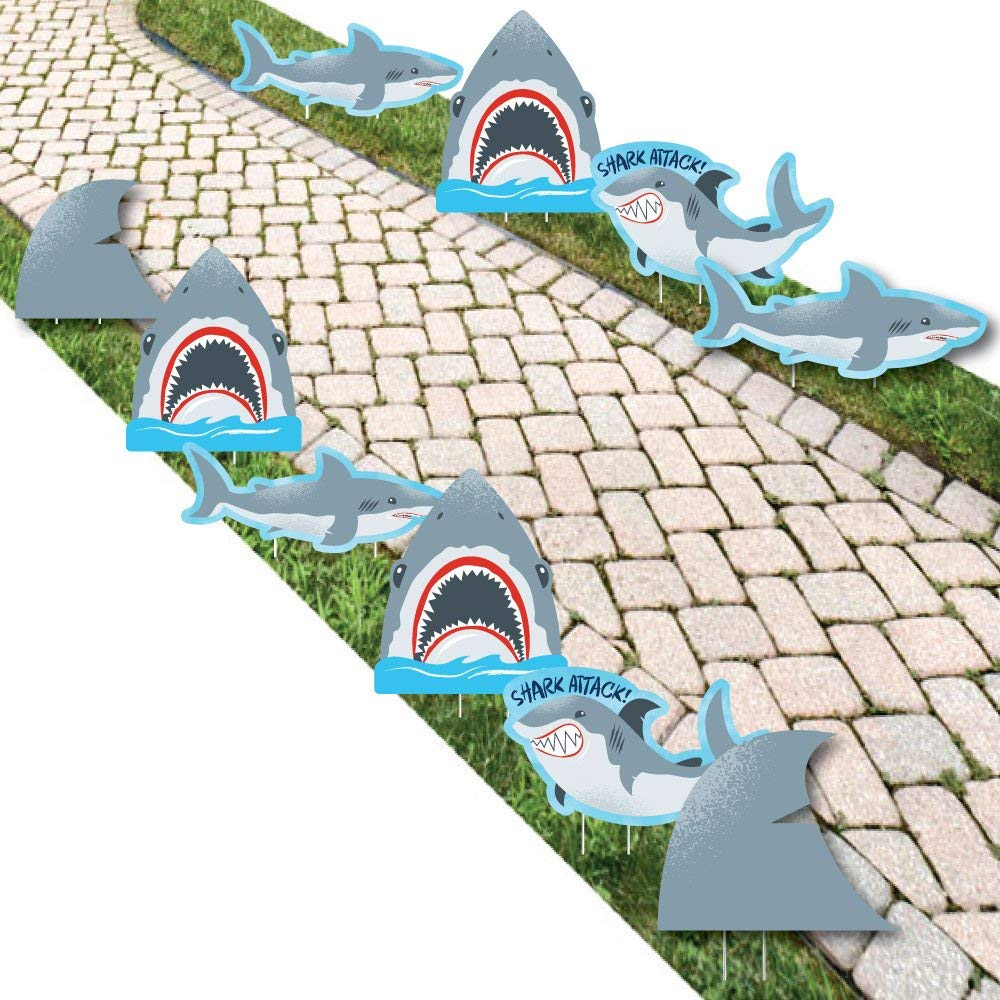 Shark Zone - Shark Week Party - Shark and Fin Lawn Decorations - Outdoor Jawsome Shark Party Or Birthday Party Yard Decorations - 10 Piece