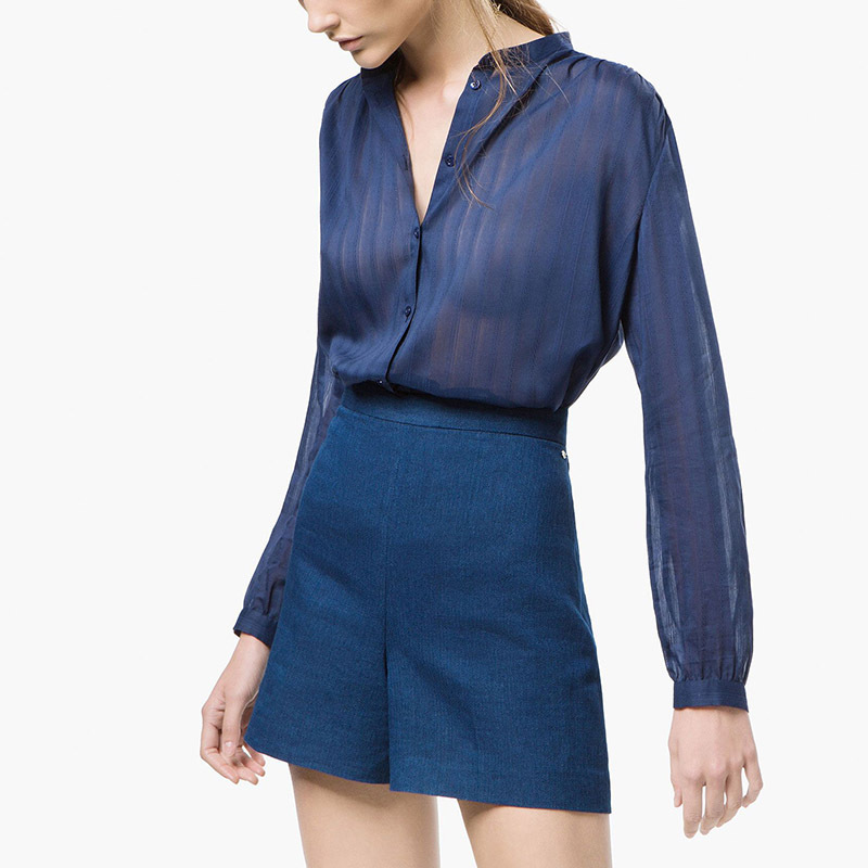 5f6c9ca70b1068 Get Quotations · 2015 summer style women satin silk blouse button ladies  silk satin blouses shirt casual navy long