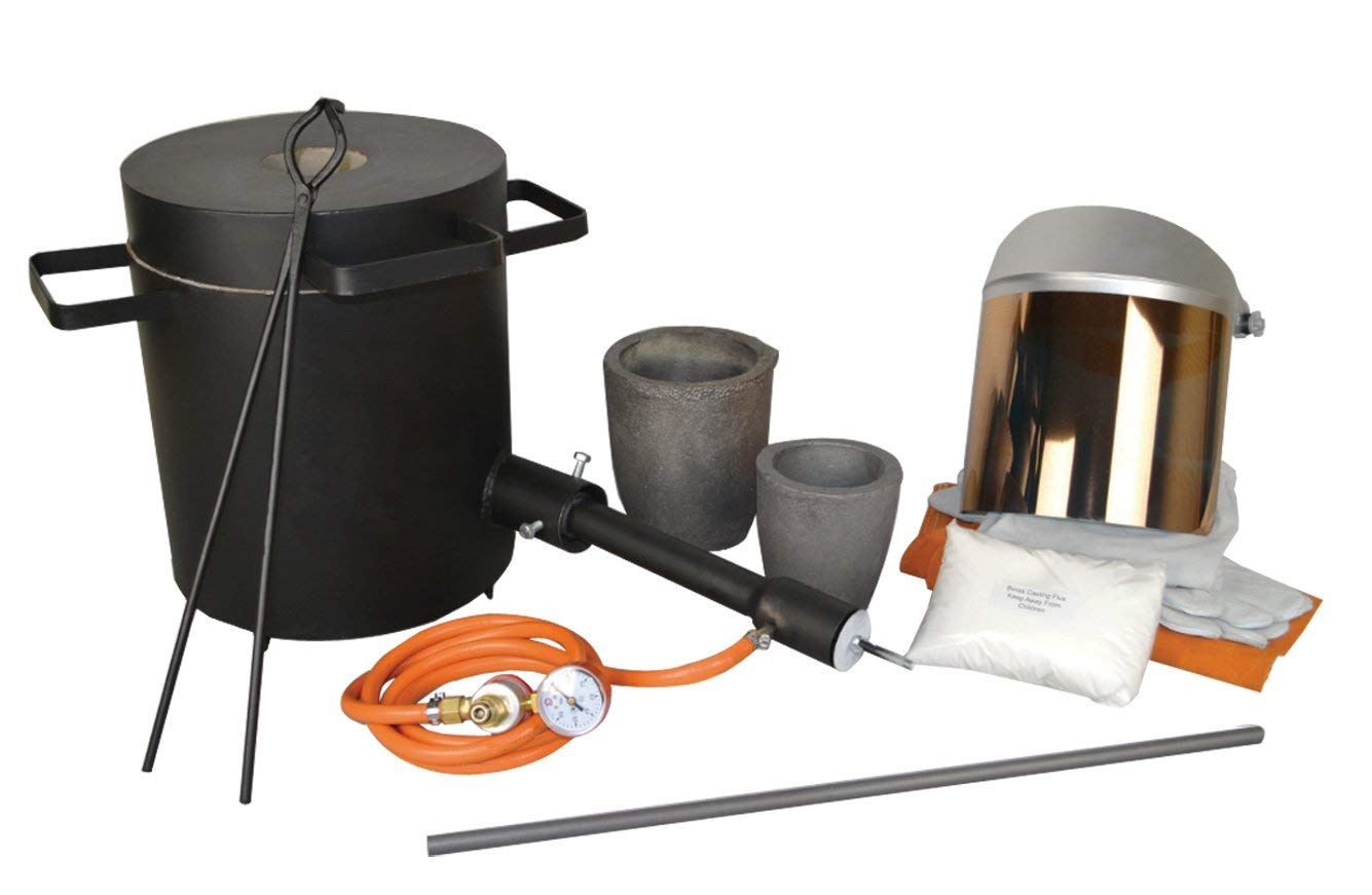 4 Kg Propane Melting Furnace Kit w//No 3-4 Kg Clay Graphite Foundry Crucible 19 Hinge-Style Tongs 13 Heat-Resistant Cowhide Gloves Gold Silver Metal Refining Casting Tool