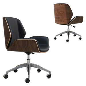 HE340 Modern design low back armless bent wood leather cafe office task chair