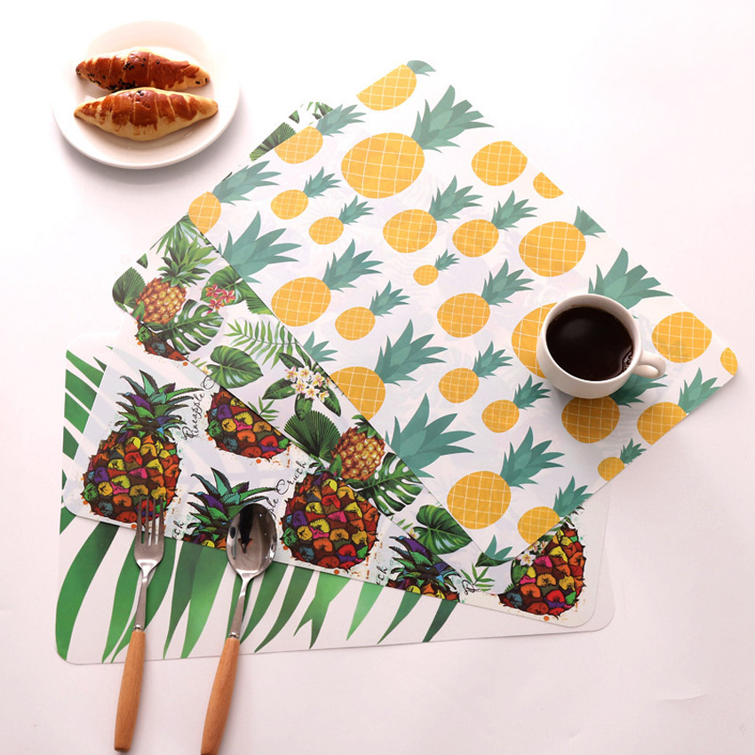 PP Custom Plastic Pineapple Print Waterproof Dining Table Kitchen Dish Coaster Placemats Table Mat