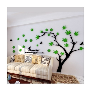 Flower Vine Corner Bail Acrylic Wall Art, Decorative Acrylic Home Wall Stickers