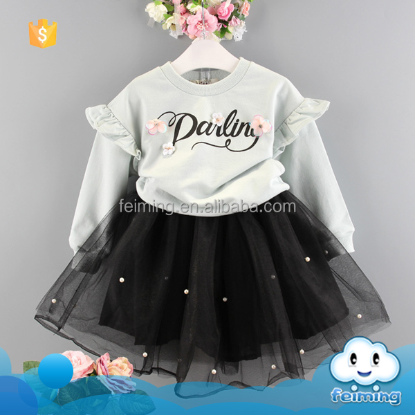 China supplier baby srocks kids clothing set 2016 autumn clothes boutique toddler outfit clothes cheap child clothes