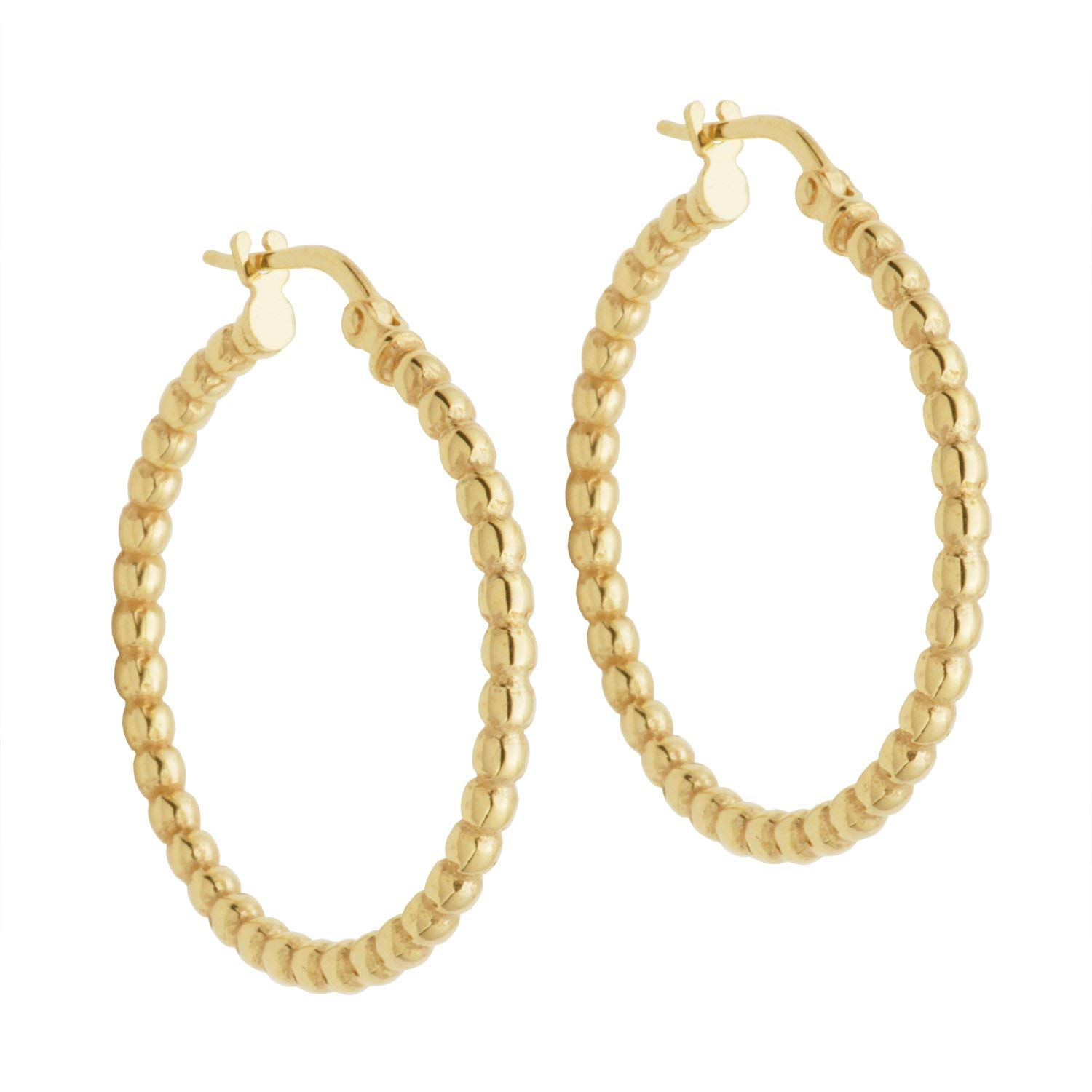 18k Yellow Gold Plated Sterling Silver 28mm Bead Tube Hoop Earrings
