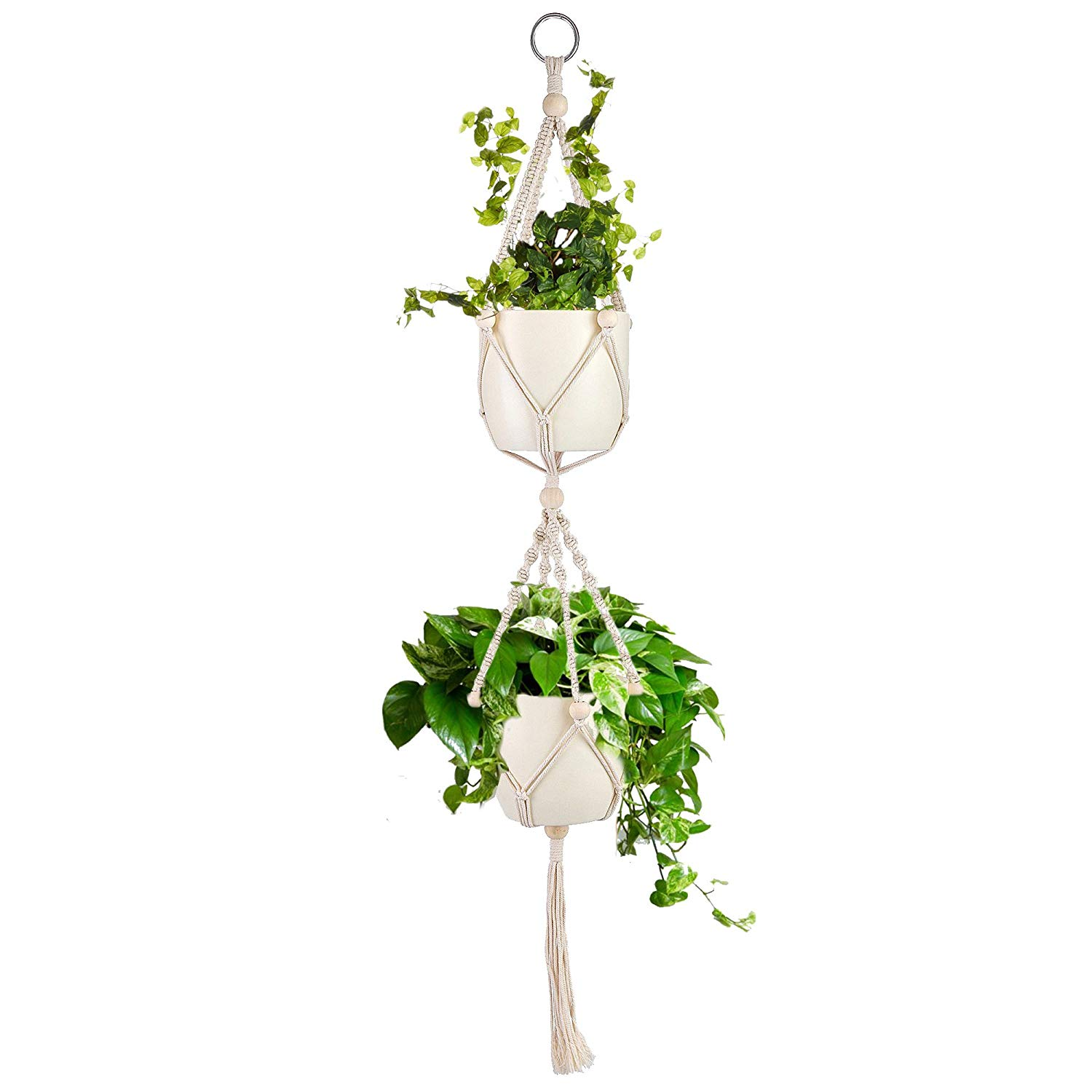 One Alpha Double Macrame Plant Hanger With Beads Indoor Outdoor Hanging Basket