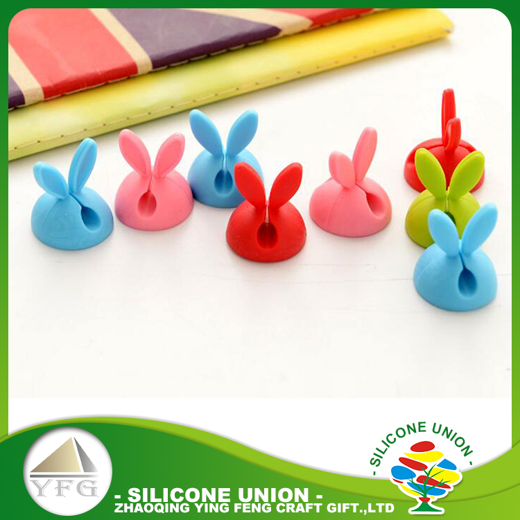 Rabbit shape silicone USB power cable holder clip