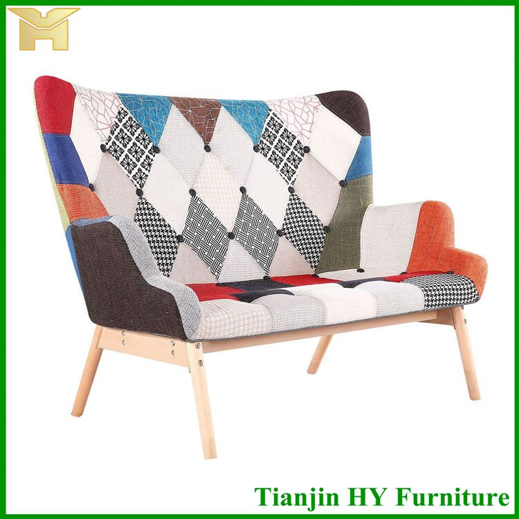 Modern Recliner used Patchwork Fabric wooden Design Home Furniture Living Room Sofa