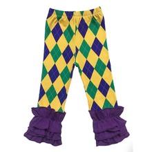 Новый Орлеан дети фиолетовый зеленый и золотой полосой Праздничные Цвета для маленьких девочек младенческой Марди Гра рюшами одежда наряд...(Китай)