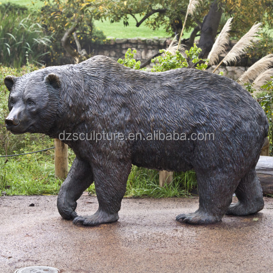 life size metal crafts bronze bear statue for zoo decoration