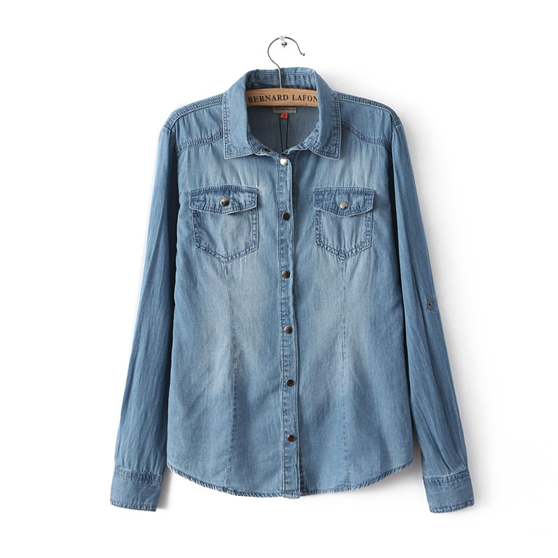 61aa3afaa0e Get Quotations · Women s Denim Shirt Casual Full Length Turn Down Collar  Ladies Blue Pocket Denim Jeans Blouses Draping