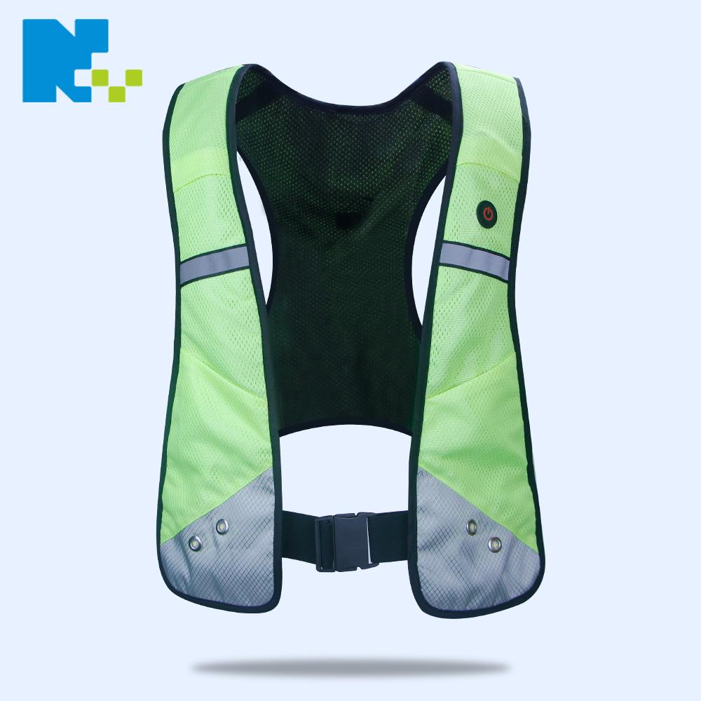 High quality lighted hi vis custom reflective safety led flashing running vest