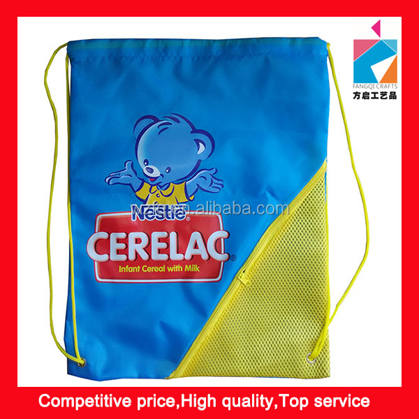 210D Promotion Mesh Sling Drawstring Bag With Pocket