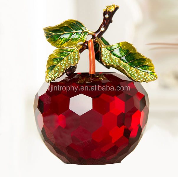 Red crystal glass apple award for teachers gifts