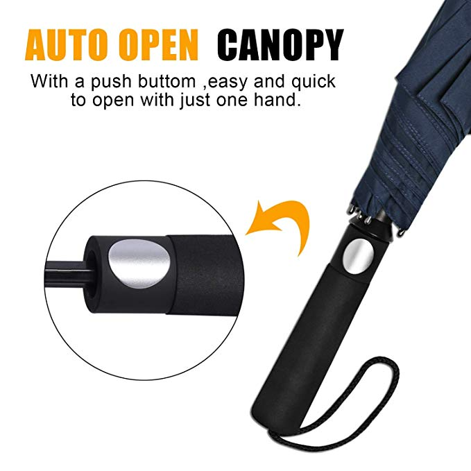 High Quality Windproof Large Double Canopy Auto Open 2 Fold  Navy Blue Golf Umbrella with EVA Handle