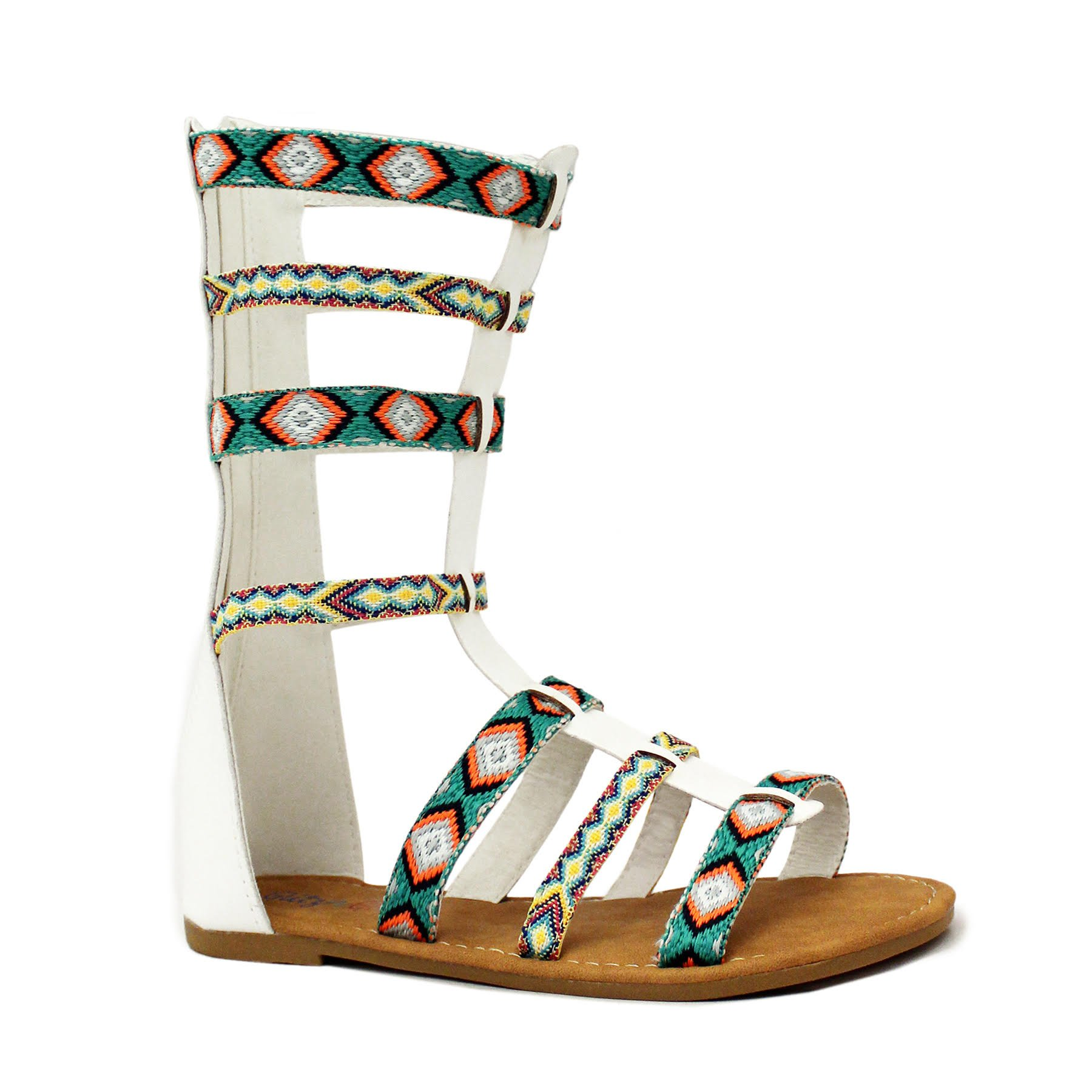 f3dd8782c2b978 Get Quotations · Yoki Shose Girls Gladiator Sandals Strappy Flat Knee High  Zip up Boots Shoes