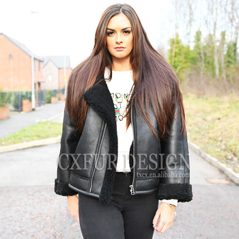 CX-G-A-112 Leather Jacket Hand Made Real Shearling Sheep Fur Fashion Coat