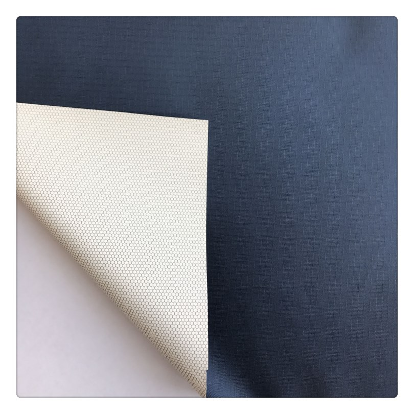 100% poly taffeta rib-stop WR, with print pu milky film breathable fabric